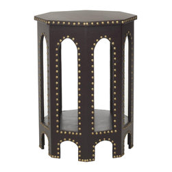 Nazmi End Table - Our multi-level end table can be used in any room as a decorative piece or as additional table space. Accented with a bold nailhead border and tall rounded arches, it adds a unique pattern fit for any space.