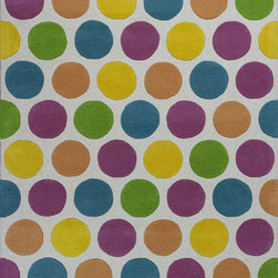 """KAS - KAS Kidding Around 441 Chic Lotsa Dots (Multi) 7'6"""" x 9'6"""" Rug - Bring out the kid in you as you frolic through our Kidding Around Collection. Hand-tufted in India of 100% Wool, these rugs give toddlers and teens a place to relax and play around with friends. Fun and colorful themes give these rugs a playful look and feel."""