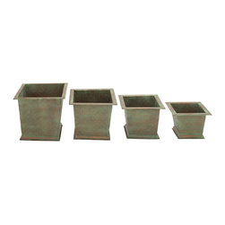 Aged but Impressive Metal Planter, Set of 4 - Description: