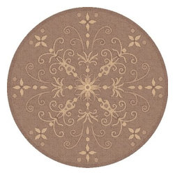 Dynamic Rugs Piazza Vente Round Indoor/Outdoor Area Rug - Brown - The Piazza Vente Brown Round Indoor/Outdoor Rug is the answer to the new trend in outdoor home decor. These rugs offer a range of styles woven completely of synthetic high-resistance yarns for real outdoor use. Now your outdoor living space can be just as aesthetically pleasing as your indoor space. Our rugs are suitable not only for your sunroom but they can also be used for decorating the entryway to your home or accessorizing any outdoor seating area or outdoor patio dining area. Sizes offered in this rug: Following are all sizes for this rug. Please note that some may be currently unavailable due to inventory. Also please note that rug sizes may vary by up to 4 inches in dimensions listed. Dimensions: 5.3 ft. Round 7.1 ft. Round 9.2 ft. Round