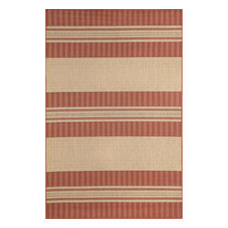 """Trans-Ocean - Stripe Sunset 4'11"""" x 7'6"""" Indoor/Outdoor Flatweave Rug - The tailored Brown Jordan aesthetic is achieved through the use of a tightly woven rug and timeless design. Wilton Woven in India of 100% Polypropylene and UV stabilized for Indoor or Outdoor use. A Tight Weave of Polypropylene allows for maximum design and textural appeal, and creates the look of natural fibers but is easy care."""