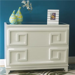 Laquer White Greek Key 2-Drawer Dresser - This high-gloss white dresser has a crisp and clean Greek key motif that makes it perfect for any chic space. The top is a beveled mirror, which is perfect for reflecting any colorful accessories you'd like to display.