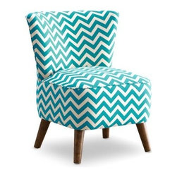 MCM Chair - Zig Zag Teal and White - The MCM Chair – Zig Zag Teal and White is a visually exciting and incredibly comfortable accent chair. Its thick padded seat is upholstered in vibrant teal and white zig zag-patterned upholstery. Flared conical wood legs and a tapered back complete its modern appeal.About Skyline Furniture Manufacturing Inc.Skyline Furniture was founded in 1948 with the goal of producing stylish, affordable, quality furniture for the home. After more than 50 years, this family-run business is still designing and manufacturing unique products that meet the ever-changing demands of the modern home furnishing industry. Located in the south suburbs of Chicago, the company produces a wide variety of innovative products for the home, including chairs, headboards, benches, and coffee tables.