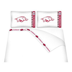 Sports Coverage - Sports Coverage NCAA Arkansas Razorbacks Microfiber Hem Sheet Set - Queen - NCAA Arkansas Razorbacks Microfiber Hem Sheet Set have an ultrafine peach weave that is softer and more comfortable than cotton. Its brushed silk-like embrace provides good insulation and warmth, yet is breathable.   The 100% polyester microfiber is wrinkle-resistant, washes beautifully, and dries quickly with never any shrinkage. The pillowcase has a white on white print beneath the officially licensed team name and logo printed in vibrant team colors, complimenting the new printed hems.    Features: -  Weight of fabric - 92GSM ,  - Soothing texture and 11 pocket,  -  100% Polyester,  - Machine wash in cold water with light colors,  - Use gentle cycle and no bleach ,  - Tumble-dry,  - Do not iron ,