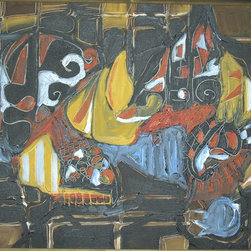 """""""Still Life In Black, Painting"""" - Abstract painting of table setting"""