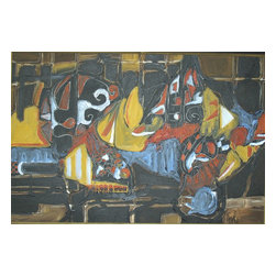 Still Life In Black, Original, Painting - Abstract painting of table setting