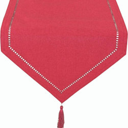 Xia Home Fashions - Melrose Easy Care Cutwork Hemstitch 16-Inch By 72-Inch Table Runner, Ventian Red - Solid color faux hemstitch easy care table linens add simple sophistication with the added bonus of easy care. Mix and match colors to create a unique look of your own!