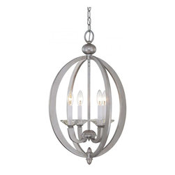 Joshua Marshal - Four Light Silver Sparkle Open Frame Foyer Hall Fixture - Four Light Silver Sparkle Open Frame Foyer Hall Fixture