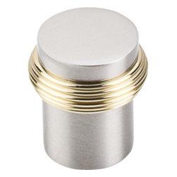 "Top Knobs - Split Finish Knob 1"" - Brushed Satin Nickel & Polished Brass - Width - 1 1/8"", Projection - 1 1/4"", Base Diameter - 15/16"""