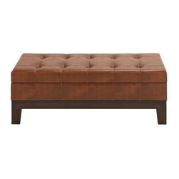 """Benzara - Leather Spacious Storage Bench with Timeless Design - Leather Spacious Storage Bench with Timeless Design. A perfect amalgamation of looks and utility, this wooden leather storage bench is ideally designed for your home. It comes with the following dimensions 47""""W x 18""""D x 18""""H."""