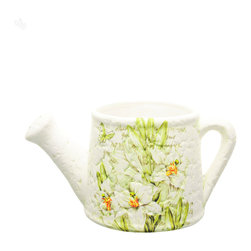 Lily Pattern Watering Can - The charming country look of this watering can is suited for either the outdoors, or as an indoors accessory to keep plants in.