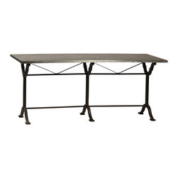Habitat Home & Garden - Milligan Table - The Milligan Table features a galvanized sheet metal top on a cast iron trestle base. The base has an antiqued painted finish. This classic French bistro design will add a touch of whimsy to your home.
