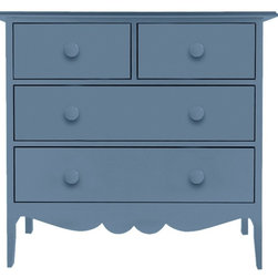 "Nellie 2-Over-2 Dresser - Never worry about ""having too much baggage"" again with the Maine Cottage® Nellie Collection. Fiercely independent, yet feminine with a touch of frill. Spacious drawers for storage and keeping in the bedroom, large closet or bath. Graceful, generous storage space for clothing. Best of all, the drawers roll open easily and often during those moments of indecision about what to wear. The Nellie 2 over 2 Dresser is adorned in 2 large drawers topped off with a smaller set above. Available in an amazing array of Maine Cottage® coastal color choices."