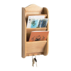Fox Run - Three-Tier Letter Rack - Help keep a workspace organized with the help of this attractive letter organizer. Crafted from solid beechwood for a beautiful finish, it features three metal hooks perfect for keys and leashes.   6.22'' W x 13.62'' H x 2.72'' D Slots: 4'' deep Beechwood Imported