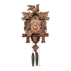 RIVER CITY CLOCKS - One Day Cuckoo Clock with Carved Maple Leaves & Moving Birds - This traditionally styled German cuckoo clock features wooden hands, a wood dial with Roman numerals, and a warm light yellow hand-painted and hand-carved cuckoo bird. The cuckoo clock case is surrounded by four deeply carved painted maple leaves with a single hand-carved bird seated at the peak of the roof. On the hour, the two birds beside the clock dial move up and down, feeding the baby birds in the bird nest. Two cast iron pine cone weights are suspended beneath the clock case by two separate brass chains.    The hand-carved painted maple leaf pendulum continously swings back and forth which controls the timing of the clock. If your cuckoo clock's timing should ever need adjustment, you can control the speed of your clock by sliding the maple leaf up or down the pendulum stick. Sliding the maple leaf down causes the cuckoo clock to run slightly slower, while sliding the maple leaf up makes the cuckoo clock run slightly faster.    On every hour the cuckoo bird emerges from a swinging door above the clock dial and counts the hour by cuckooing once per hour. (Example: At one o'clock the bird will cuckoo once. At eight o'clock the bird will cuckoo eight times) The half hour is announced with one cuckoo call.     The 30 hour all brass mechanical Regula movement, which is produced in the Black Forest of Germany, is wound once per day by raising the two pine cone weights. One weight powers the time and the other weight powers the cuckoo and cuckoo call.    *Great effort has been made to portray each cuckoo clock as accurately as possible. As with many handmade items, the exact coloration and carving may vary slightly from clock to clock. We consider this to be a special part of their character. This clock is covered by a two year limited warranty covering workmanship and manufacturers defects.