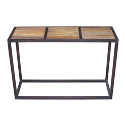 Kathy Kuo Home - Lisbeth Urban Rustic Reclaimed Elm Iron Console Table - Bring a sleek, stylish and environmentally correct attitude to your decor. This masterfully minimalist console is made of reclaimed elm and iron to add a rugged urban edge to your favorite space.