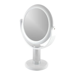 Floxite - Large Magnifying Vanity Mirror - Two sided mirror. Powerful 10x magnifying glass on one side and regular 1x on the other. Distortion free DFP glass. Tall 15.5 in. high for maximum views. Viewing area: 7.5 in.. Adjustable angle for easy viewing. Tweeze eyebrows perfectly, see facial hair for easy removal, apply makeup more precisely. Made from plastic and glass. Decorator white finish. No assembly required. Mirror: 9.5 in. Dia.. Weighted base: 6 in. Dia.. Overall: 10 in. W x 6 in. D x 15.5 in. H (4lbs.)Distortion free optical quality glass provides the clearest image possible. The frosted white decorator color will complement any decor. See the tiniest detail, even without eyeglasses!