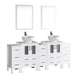 """Bosconi - 84"""" Bosconi AB224RO3S Double Vanity, White - The elegant concept of your design perspective will be made clear with this large 84"""" glossy white Bosconi double vanity set. The ceramic, round vessel sinks bring a modern feel while the perfectly coordinating mirrors pull the look together. Features include two spacious cabinets with soft closing doors, as well as, three detached side cabinets with three pull out drawers each. Plenty of space to efficiently accommodate towels, toiletries and bathroom accessories."""