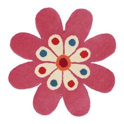 """Dynamic Rugs - Kids Fantasia Flower 2'0""""x2' Flower Pink Area Rug - The Fantasia area rug Collection offers an affordable assortment of Kids stylings. Fantasia features a blend of natural Gold color. Hand Tufted of 100% Wool the Fantasia Collection is an intriguing compliment to any decor."""