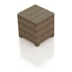 Forever Patio - Cypress Wicker Patio End Table, Heather Wicker - Expand the functionality of your patio set with the stylish Forever Patio Cypress Patio Wicker End Table (SKU FP-CYP-ET-HR). The heather-colored resin wicker is UV-protected, and features subtly muddled tones for a varied, natural look. Each strand of this outdoor wicker is made from High-Density Polyethylene (HDPE) and is infused with its rich color and UV-inhibitors that prevent cracking, chipping and fading ordinarily aused by sunlight. This modern wicker end table is supported by thick-gauged, powder-coated aluminum frames that make it more durable than natural rattan. A tempered glass top is included with this table, adding a touch of modern style to your outdoor space.