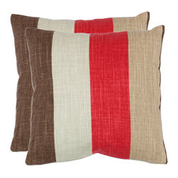 Safavieh Home Furniture - Kaydence 18-Inch Red Decorative Pillows Set of 2 - -Traditional with a twist this striped accent pillow from Safavieh is the perfect way to add personality to your favorite chair or sofa. Full of eye-catching charm this piece will infuse your d�cor with classic style for years to come.  - Please note this item has a 30-day manufacturer's limited warranty that covers product defects. Inspect your purchase upon delivery and notify us immediately with any concerns. Safavieh Home Furniture - PIL853A-1818-SET2