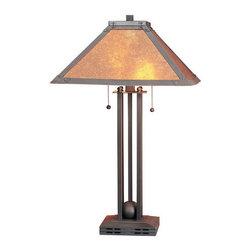 "Cal Lighting - Cal Lighting BO-476 120 Watt 24.5"" Craftsman / Mission Metal Table Lamp with On/ - 120 Watt 24.5"" Craftsman / Mission Metal Table Lamp with On/Off Switch and Square Mica ShadeSpecifications:"