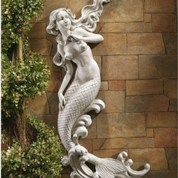 "Design Toscano - The Mermaid of Langelinie Cove Wall Decor - When we asked artist Candice Pennington to conjure a mermaid for spa bath or poolside wall, we were delighted by this aquatic dream from the depths of her vivid imagination! This Toscano exclusive captures each detail in quality designer resin with a timeless antique stone finish. Features: -Stone finish.-Customers are encouraged to bring in items during severe weather conditions or to spray items periodically with clear coat protection to extend the life of the finish..-Distressed: No.-Powder Coated Finish: No.-Gloss Finish: No.-Material: Resin.-Number of Items Included: 1.-Fade Resistant: Yes.-UV Resistant: Yes.-Mildew Resistant: No.-Powered: No.-Lighted: No.-Mounting Required: Yes.-Product Care: Store indoors during freezing winter weather..Dimensions: -Overall Product Weight: 11 lbs.-Overall Height - Top to Bottom: 31"".-Overall Width - Side to Side: 13.5"".-Overall Depth - Front to Back: 3"".Assembly: -Assembly Required: No.-Additional Parts Required : No."