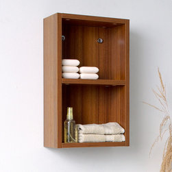 "Fresca - Fresca Teak Bathroom Linen Side Cabinet w/ 2 Open Storage Areas - Light wood makes a bold statement when you add the FST8092TK Fresca Teak Bathroom Linen Side Cabinet to your powder room. The rich wood grain and sleek lines can match the existing decor, or you can build a whole new look around them. This linen storage cabinet has two open shelves, each of which covers a single storage space for your towels or toiletries. Install this W 11 7/8"" x D 5 7/8"" x H 19 5/8"" linen cabinet furniture on either side of your mirror for a coordinated look."