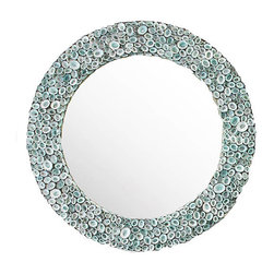 Blue Limpet Shell Mirror - Our mirrors are handcrafted in the United States of America one shell at a time.