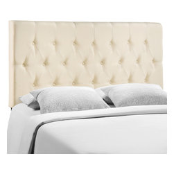 LexMod - Clique Full Headboard in Ivory - Deep tufted buttons patterned in a dazzling array adorn the Clique headboard series. Clique adds depth and elegance to a decor built on an uncomplicated style of fine lines and carefully implemented design elements. Clique is made from fiberboard, solid wood, and fine linen upholstering for a construction that is both lightweight and long-lasting. Introduce Clique to your contemporary bedroom for restful nights supported by a collaborative design. Fits full size beds. Available in a variety of colors.