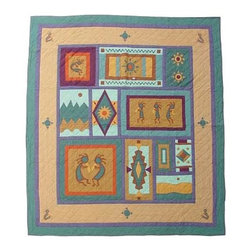 Patch Quilts - Kokopelli Queen Quilt - -Constructed of 100% Cotton  -Machine washable; gentle dry  -Made in India Patch Quilts - QQKOKO