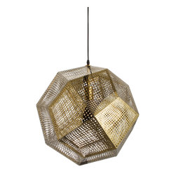 Modern Carbon Steel Pendant Light - Artfully constructed from carbon steel, the Honeycomb Pendant is a study in mid-century–modern design. Its geometric, multidimensional form beautifully complements its golden hue; it's sure to illuminate any space with a unique splash of seductive sophistication.