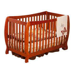 Stork Craft - Stork Craft Monza II 2-in 1 Fixed Side Convertible Crib in Cognac - Stork Craft - Cribs - 0458734C - A throwback to the retro modern design era of the mid-twentieth century the Monza I Fixed Side Convertible Crib by Stork Craft Furniture is sure to be a welcome addition to your nursery.This crib features a unique retro curve on the back and a dipped curve along the front allowing effortless access to your baby. The clean detailing and bowed posts create a truly striking piece. All four sides are stationary and include an adjustable three position mattress support base to add to the security and stability of this epoch crib. This crib will grow with your child as it converts from a standard crib to a full-size bed (full size bed rails not included).  This piece is made of solid wood and wood products offered in a selection of non toxic durable finishes. Set-up this modern work of art with ease by following the simple easy to follow assembly instructions provided by Stork Craft. Complete your nursery look by adding a Stork Craft changing table chest dresser or glider and ottoman.