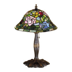 """Meyda - 17""""H Tiffany Rosebush Accent Lamp - The most beloved of all flowers, the rose, isbeautifully represented in this meyda reproduction of atiffany studio classic. Petal pink, romantic red andplum passion art glass roses ramble on a maze of gardengreen leaves. The delicate domed stained glass shade ispaired with a graceful, hand finished mahogany bronzeaccent lamp. Bulb type: cndl bulb quantity: 1 bulb wattage: 60"""