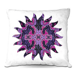 DiaNoche Designs - Pillow Linen by Susie Kunzelman - Purple Maze Sun - Add a little texture and style to your decor with our Woven Linen throw pillows. The material has a smooth boxy weave and each pillow is machine loomed, then printed and sewn in the USA.  100% smooth poly with cushy supportive pillow insert with a hidden zip closure. Dye Sublimation printing adheres the ink to the material for long life and durability. Double Sided Print, machine wash upon arrival for maximum softness. Product may vary slightly from image.