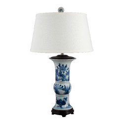 Oriental Danny - Blue and white porcelain lamp - Hand painted blue and white porcelain lamp. The pattern shows classic blue and white bird and garden scene. Top with hardback linen lamp shade. Use 100 watt light bulb, 3 way switch. UL listed.