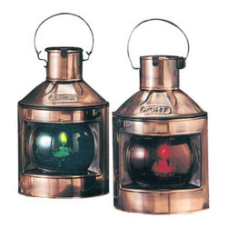 """9"""" Copper Plated Port & Starboard Oil Lanterns - The copper plated port  starboard oil lanterns are available in size 9""""H. They are made of copper plating  are available in oil only. They will add a definite nautical touch to wherever they are placed and are a must have for those who appreciate high quality nautical decor. They make a great gift, impressive decoration and will be admired by all those who love the sea."""