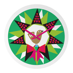 """DENY Designs - DENY Designs Zoe Wodarz Geo Pop Wreath Round Clock - Talk about a small home decor accessory that makes a HUGE impact! Our affordable 12"""" Round Clock comes complete with the artwork of your choice and coordinating clock hands. Hang it on it's own or group it in a collection. Time's a tickin'!"""