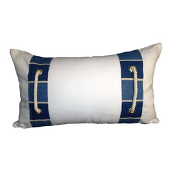 PillowFever - White Cotton Lumbar Pillow Cover with blue stripes and cotton rope accent. - Pillow insert is not included!