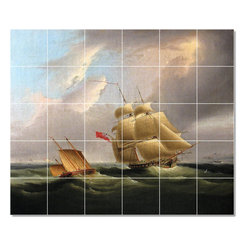 Picture-Tiles, LLC - A Sloop Of War Tile Mural By James Buttersworth - * MURAL SIZE: 60x72 inch tile mural using (30) 12x12 ceramic tiles-satin finish.