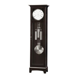 Howard Miller - Howard Miller - Urban Floor II Floor Clock - The richly toned Merlot Cherry finish contrasts attractively with brushed nickel accents.  Then look no further than this stunning cherry grandfather clock.  Stately and subtly styled, the Westminster chimer is both appealing and functional.  Suited for many decorating choices from traditional to Mission to urban with handsome Merlot cherry finish.  Precise mechanism with cable-driven weights for long-lasting appreciation. * Pendiment has a Flat-Top and Nickel finish. Nickel bezel Finished Dial. Weighted Nickle Finished Doorknob. Cable-driven, Westminster chime Kieninger movement plays 1/4, 1/2, and 3/4 chimes accordingly with full chime and strike on the hour. Beveled glass on upper and lower door; plain glass on sides. Hardwoods & Veneers have a Espresso finish. Door locks for extra security. Optional nighttime chime shut-off. 2 Year Manufacturer's Warranty. Height 78.5 in. (199 cm). Width 22 in. (56 cm). Diameter 14 in. (36 cm). Product Manual