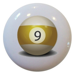 Carolina Hardware and Decor, LLC - Billiards 9 Pool Ball Ceramic Knob - New 1 1/2 inch ceramic cabinet, drawer, or furniture knob.  Mounting hardware included.   Can be wiped clean with a soft damp cloth. Great addition and nice finishing touch to any room!