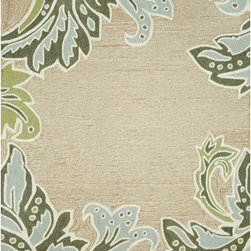 Trans Ocean Import - Ravella Ornamental Leaf Border Aqua Rectangular 5 Ft. x 8 Ft. Rug - - Indoor-Outdoor rug.  - Is UV treated to resist fading.  - Impervious to weather conditions.  - Is stain resistant with synthetic fibers.  - Hand made in China.  -  Transitional Ornamental Leaf  design in updated colors  - Vacuum regularly.  - Sponge spots clean.  - To clean full rug, gently rinse with a solution of mild detergent and water, hose rug clean with garden hose, allow to dry in the sun Trans Ocean Import - RVL57194704