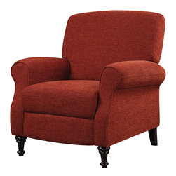 Coaster - Push-Back Recliner, Wine Red - Covered in a wine red chenille, this push-back recliner will add a splash of color and style to any room.