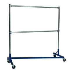 Z Racks - 5 ft. Heavy Duty Z-Rack Double Rail Garment R - Base Color: Blue. 500lb capacity. 14 gauge, 60 in. Long steel base (Environmentally safe powder coated finish ). 16 gauge, 60 in. upright bars and double hang rails. 1 5/16 outside diameter upright bars and hang rail. Grey non-marking soft rubber with TP center 4 in. casters. Made in the USA. 63 in. L x 23 in. W x 67 in. HThis Z-Rack is designed to hold up to 500 lbs of apparel, while maximizing all five feet of length. And because the two rows are placed on top of each other, the rack will not tip under a heavy load.