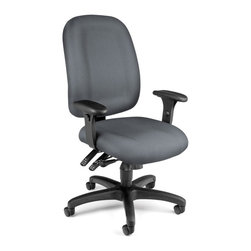 OFM - OFM Ergonomic Task Computer Chair in Gray - OFM - Office Chairs - 125801 - Others will notice the style you'll feel the ergonomic support with OFM's Ergonomic Task Chair. Features 7 ergonomic adjustments: back height back angle back depth gas lift seat height seat tilt/lock/tension control plus 7-position arm height. Users will easily find their ideal positioning plus enjoy the built-in lumbar support. Weight capacity is up to 250 lbs.