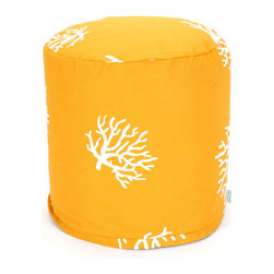 Majestic Home - Outdoor Yellow Coral Small Pouf - This coral-patterned pouf (think: footstool, side table or comfy seat) is perfect for your beach house, or wherever your decor celebrates the sea. Really, wherever — indoors or out — since the UV protected fabric can really take the heat.
