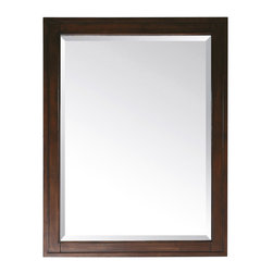 """Avanity - Madison Mirror in Tobacco - Complete a bedroom or living room decor, or dress up an entryway with this gorgeous rectangular wall mirror. The Madison mirror is crafted with solid birch wood and presented in a tobacco wood finish. Features a simple, sophisticated frame and a large beveled mirror pane. With a wood cleat on the back for easy hanging. Features: -Mirror. -Madison collection. -Tobacco finish. -Frame construction: Solid birch wood. -Available in 24"""", 28"""" and 36"""" width sizes. -Wood cleat at back for easy hanging. -Can be hanged horizontal and vertical. Specifications: -24"""" Mirror dimension: 32""""H x 24""""W. -28"""" Mirror dimension: 32""""H x 28""""W. -36"""" Mirror dimension: 32""""H x 36""""W."""