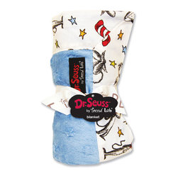 "Trend Lab - Receiving Blanket - Framed Dr. Seuss Cat In The Hat Blue - Keep your little one warm and secure with this Dr. Seuss Cat in the Hat Blue Framed Receiving Blanket by Trend Lab. Soft blue star embossed velour is framed by a cotton percale scatter print of the classic book's Cat in the Hat character in barn red and black with cornflower blue, mango, avocado and yellow accents on a white background. Blanket measures 30"" x 40"". Product sold under license from Dr. Seuss Enterprises, L.P."