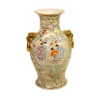 "n/a - 14"" Lion Handle Chinese Porcelain Vase - Handsome Chinese porcelain lion handle flower vase. Meticulously hand painted in rustic rosé medallion landscape design. This fine Asian masterpiece will beautify your living room for years to come. Chinese porcelain is stronger & less brittle than ceramics.  For table top use, watertight for flower arrangements. Add a 6"" flat rosewood stand for an ideal display. Order now. Such rare treasures are in limited supply. Measures 8"" Diameter at its widest x 14""High., The base is 5.75 "" Diameter."